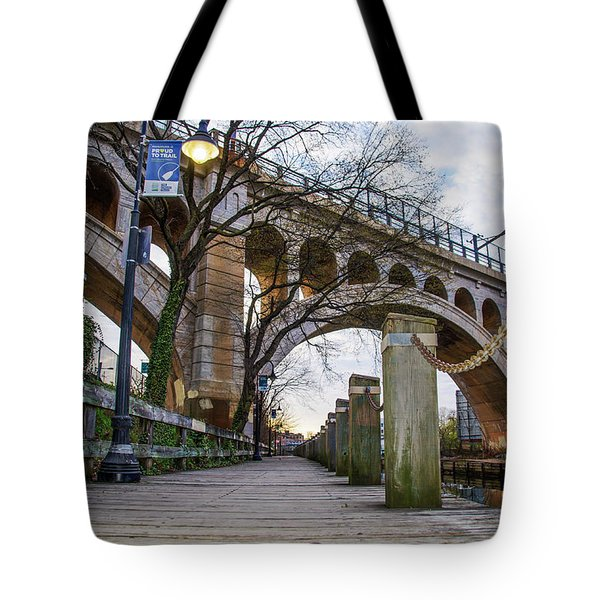 Manayunk - Towpath And Bridge Tote Bag by Bill Cannon