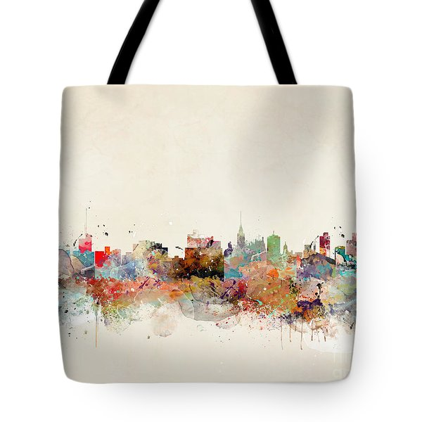 Tote Bag featuring the painting Manchester City Skyline by Bri B