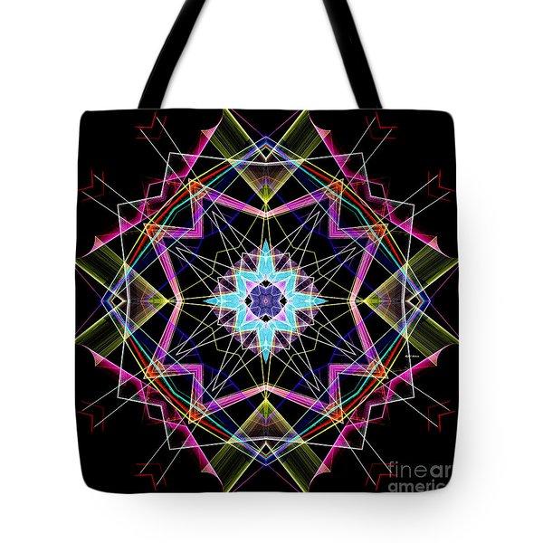 Tote Bag featuring the digital art Mandala 3304a  by Rafael Salazar