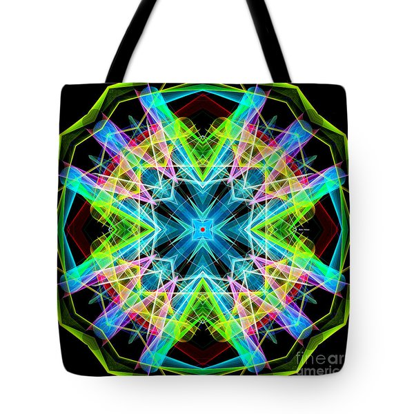 Tote Bag featuring the digital art Mandala 3308a  by Rafael Salazar