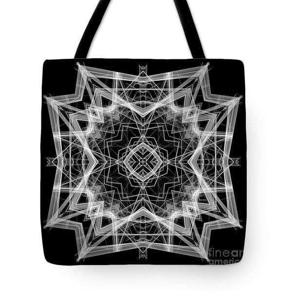 Tote Bag featuring the digital art Mandala 3354b In Black And White by Rafael Salazar
