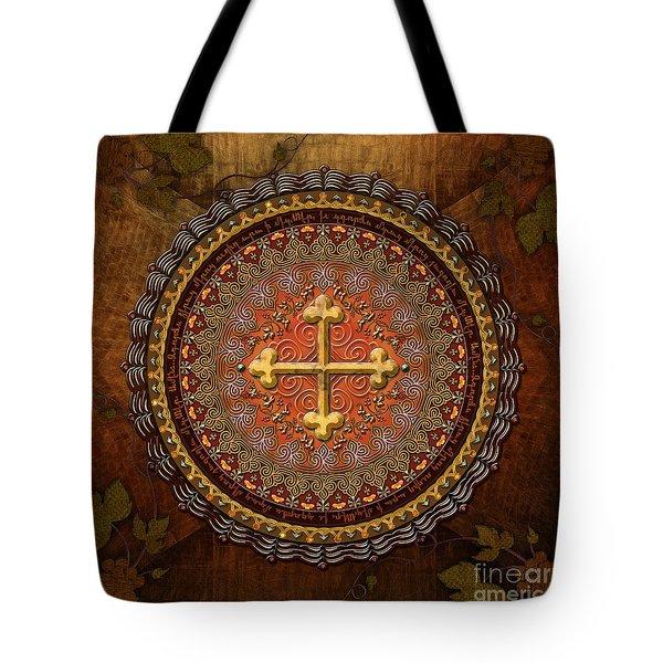 Mandala Armenian Cross Tote Bag by Bedros Awak