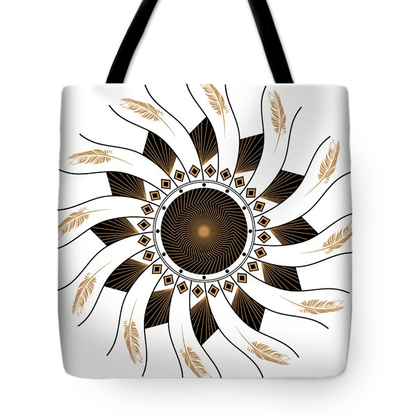 Tote Bag featuring the digital art Mandala Black And Gold by Linda Lees