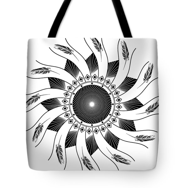 Tote Bag featuring the digital art Mandala Black And White by Linda Lees
