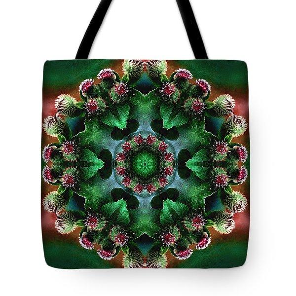 Mandala Bull Thistle Tote Bag