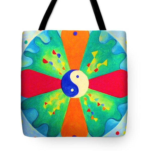 Tote Bag featuring the painting Mandala by Denise Fulmer