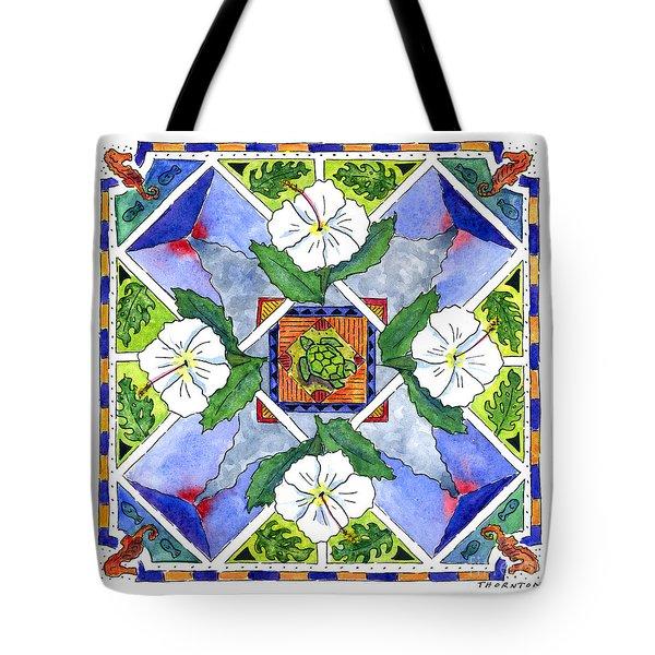 Mandala IIi - White Hibiscus Tote Bag by Diane Thornton