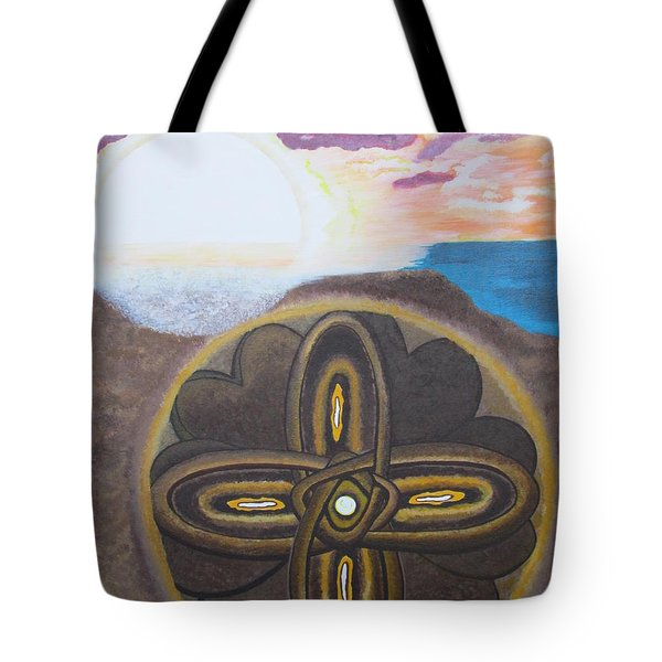Tote Bag featuring the painting Mandala In The Sand by Cheryl Bailey
