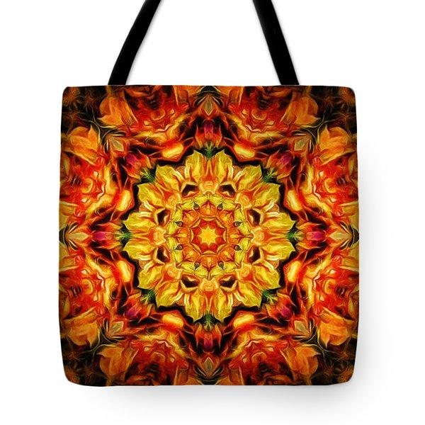 Mandala Of The Sun In A Dark Kingdom Tote Bag
