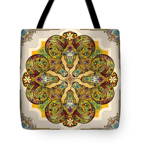 Mandala Sacred Rams - Bright Version Tote Bag