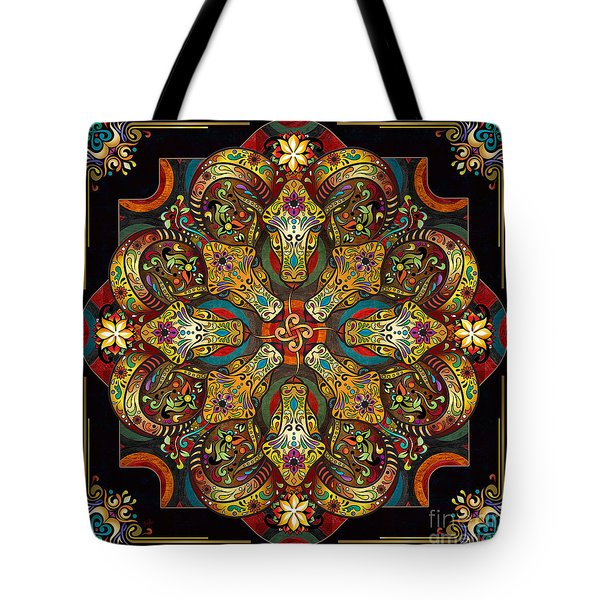 Mandala Sacred Rams - Dark Version Tote Bag