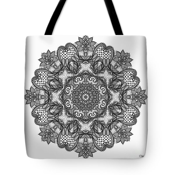 Tote Bag featuring the digital art Mandala To Color 2 by Mo T
