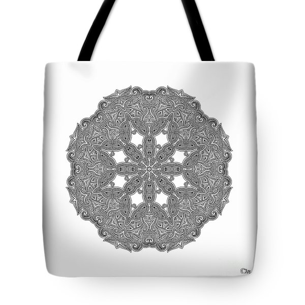 Tote Bag featuring the digital art Mandala To Color by Mo T