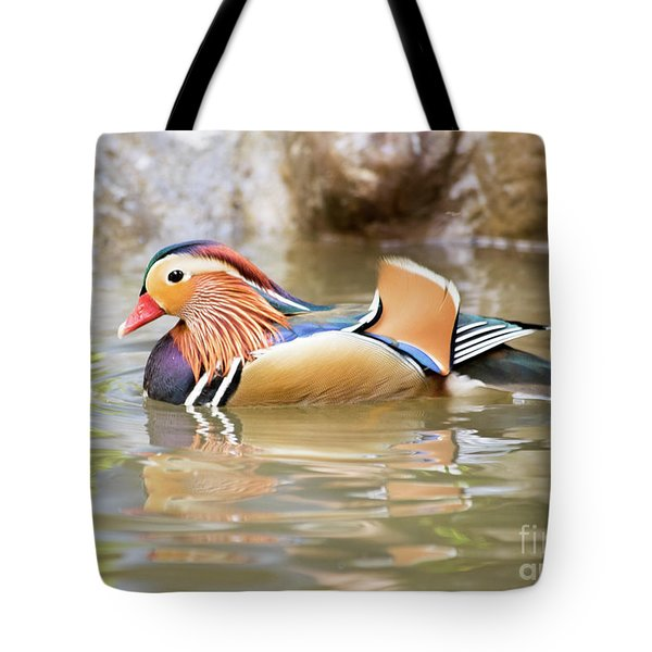 Mandarin Duck Swimming Tote Bag