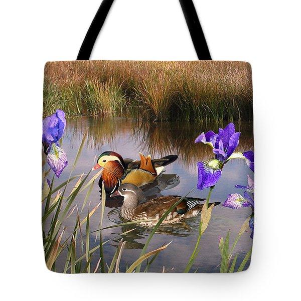 Mandarin Ducks And Wild Iris Tote Bag