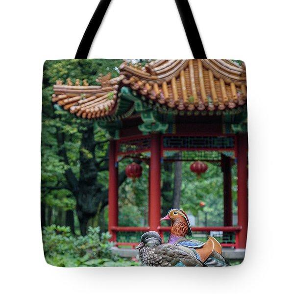 Mandarin Ducks At Pavilion Tote Bag