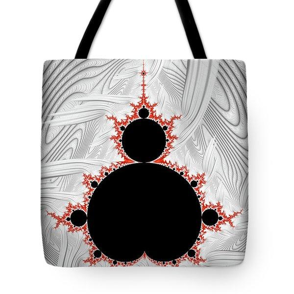 Mandelbrot Set Black Red Silver Tote Bag