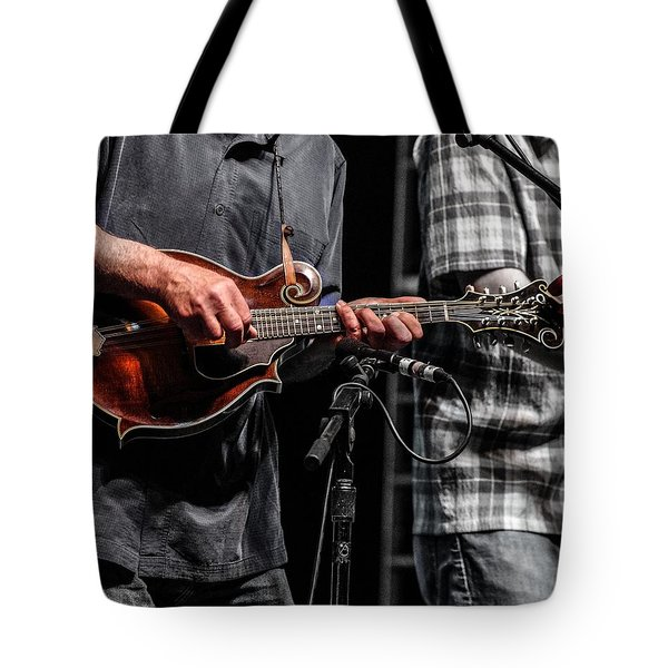 Tote Bag featuring the photograph Mandolin Picker by Jim Mathis