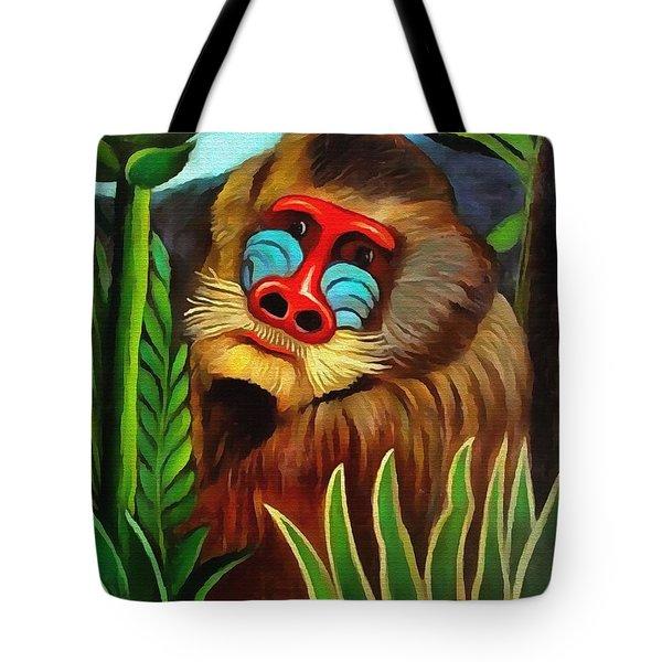 Mandrill In The Jungle Tote Bag