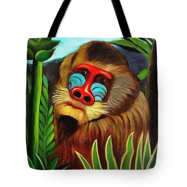 Mandrill In The Jungle Tote Bag
