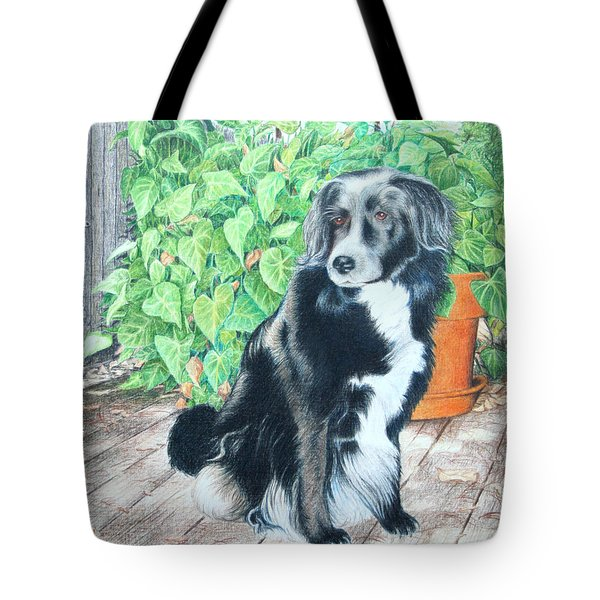 Tote Bag featuring the drawing Mandy by Mike Ivey