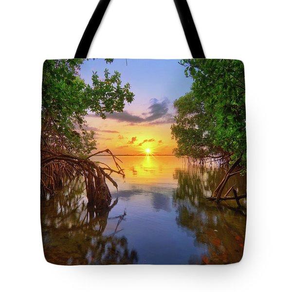 Mangrove Sunset From Jensen Beach Florida Tote Bag