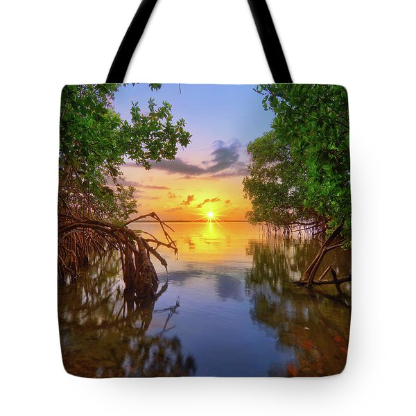 Mangrove Sunset From Jensen Beach Florida Tote Bag by Justin Kelefas