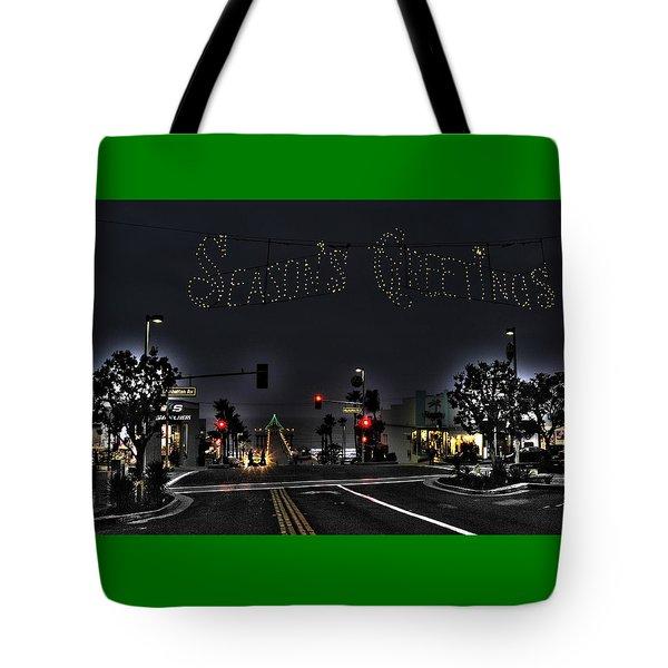 Manhattan Beach Christmas Tote Bag