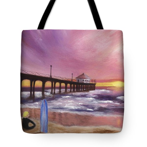 Manhattan Beach Pier Tote Bag by Jamie Frier