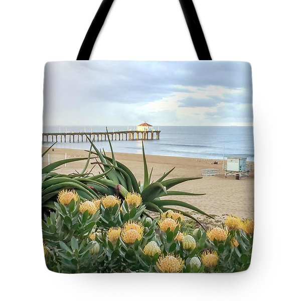Tote Bag featuring the photograph Manhattan Beach View by Art Block Collections