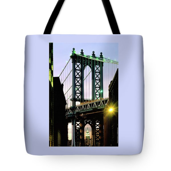 Manhattan Bridge And Empire State Building Tote Bag by Mark Ivins