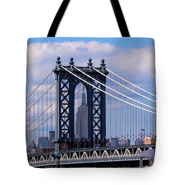 Manhattan Bridge Framing The Empire State Building Tote Bag
