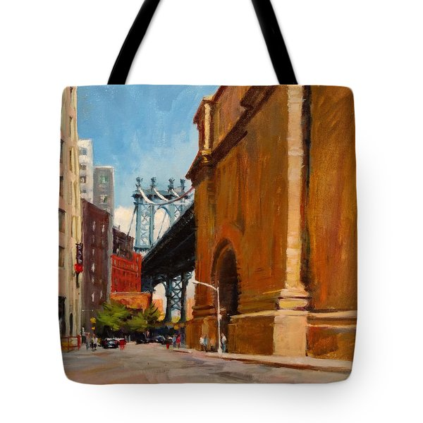 Manhattan Bridge From  Front Street, Brooklyn Tote Bag