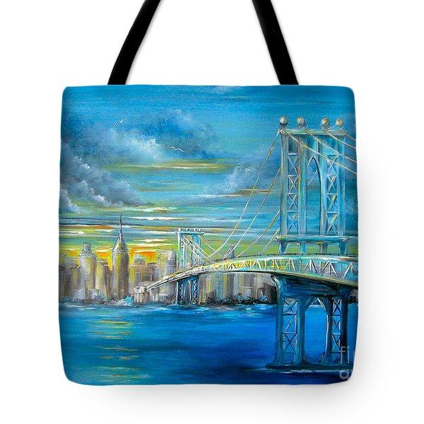 Manhattan Bridge Tote Bag by Patrice Torrillo