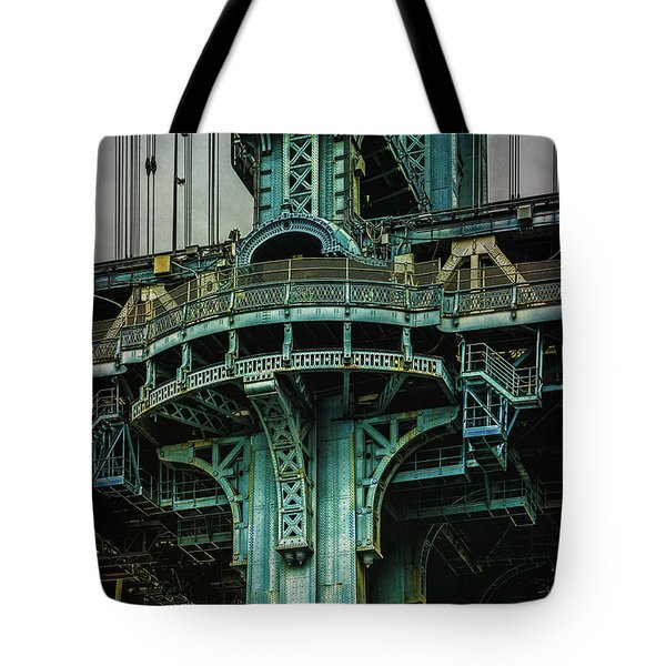 Tote Bag featuring the photograph Manhattan Bridge Tower by Chris Lord