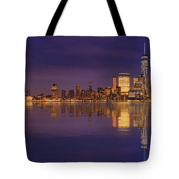 Manhattan, New York At Dusk Panoramic View Tote Bag