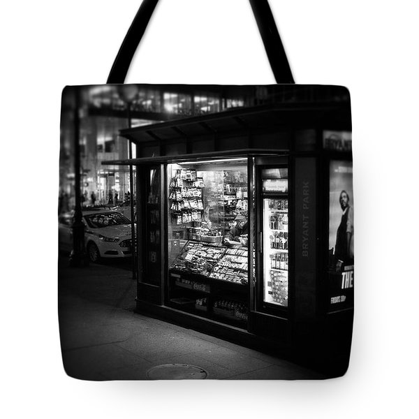 Tote Bag featuring the photograph Manhattan Newsstand, 42nd Street by Ross Henton
