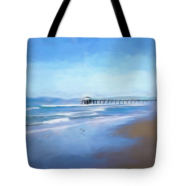 Tote Bag featuring the photograph Manhattan Pier Blue Art by Michael Hope