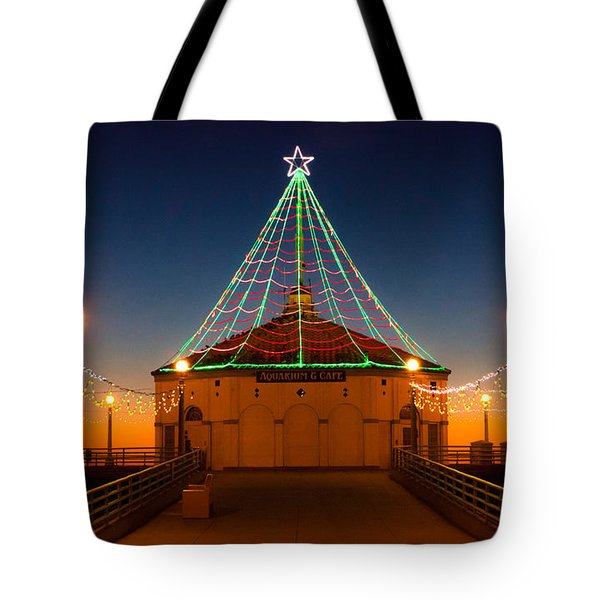 Tote Bag featuring the photograph Manhattan Pier Christmas Lights by Michael Hope