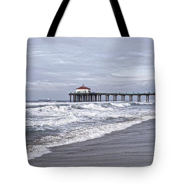 Manhattan Pier Surf And Waves Tote Bag