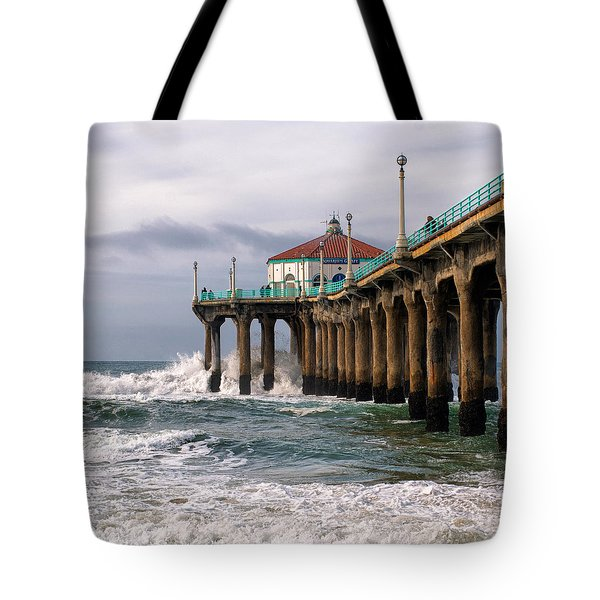 Tote Bag featuring the photograph Manhattan Pier Surf by Michael Hope