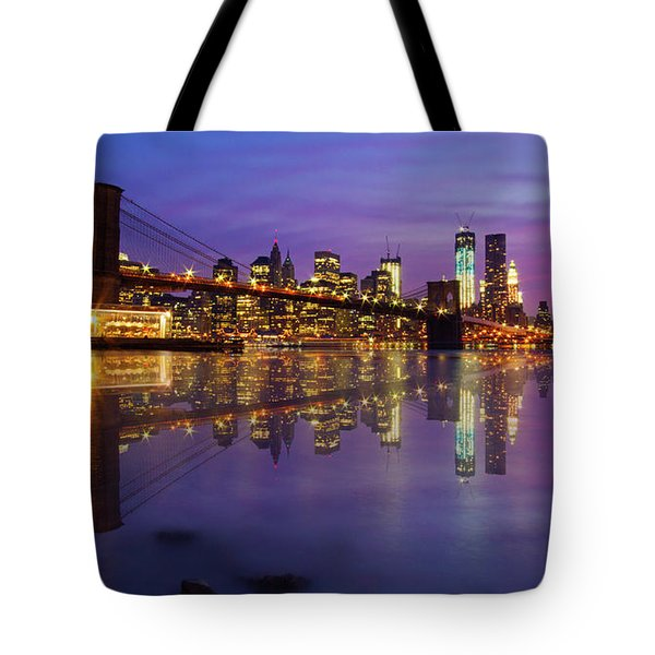 Tote Bag featuring the photograph Manhattan Reflection by Mircea Costina Photography