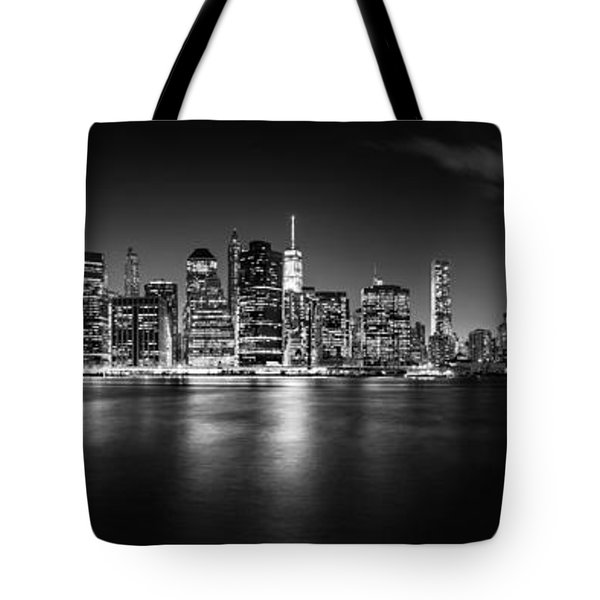 Manhattan Skyline At Night Tote Bag by Az Jackson