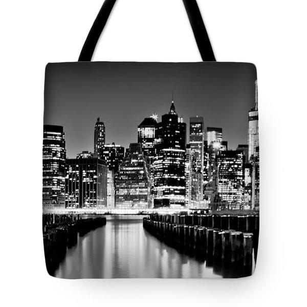 Manhattan Skyline Bw Tote Bag