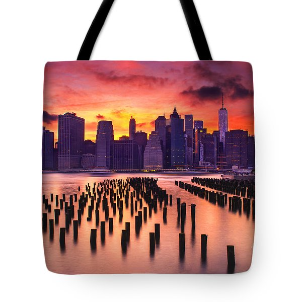 Manhattan Sunset Tote Bag by Rima Biswas