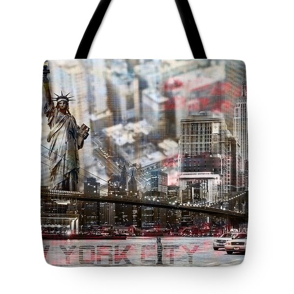 Tote Bag featuring the photograph Manhatten From Above by Hannes Cmarits