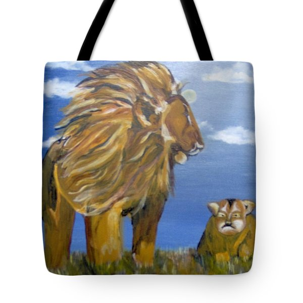 Tote Bag featuring the painting Manhood Training by Saundra Johnson
