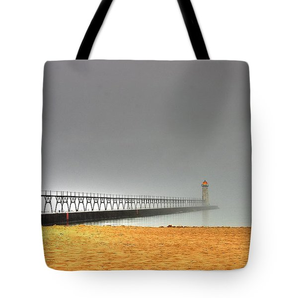Manistee Light And Fog Tote Bag