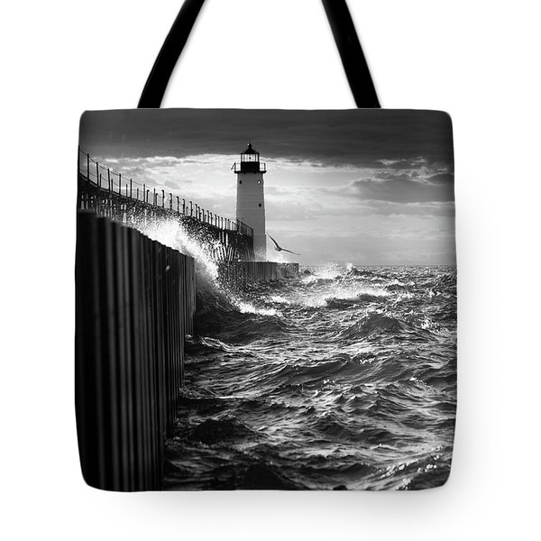 Tote Bag featuring the photograph Manistee Pierhead Lighthouse by Fran Riley