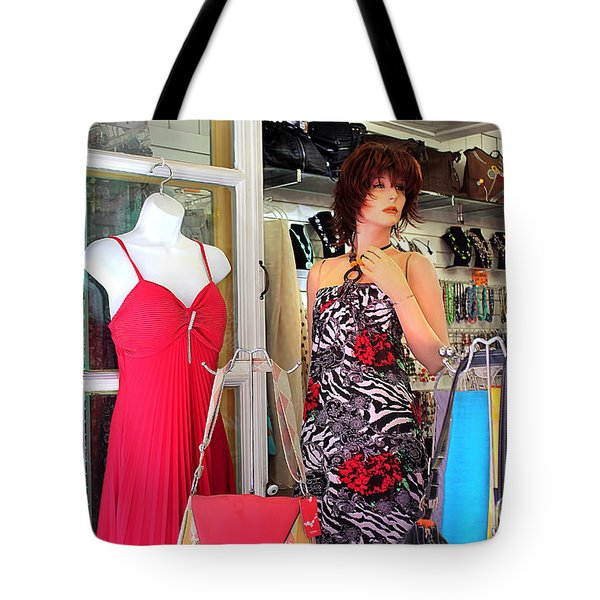 Mannequin With Stripped Flower Dress Tote Bag